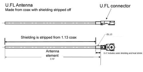 Antenna 900 MHz 3dBi Omni w/U.FL connector