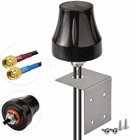 Vehicle-mount antenna for 4G / LTE GPS LNA with Bracket Mount and two cables to SMA or connector of our choice (by special order).   Also for 3G / GSM 900MHz band.