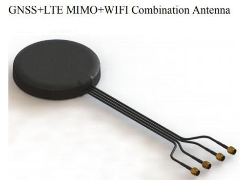 Four-in-one combination antenna with four internal antennas: LTEx2 (MIMO) + GPS + WiFi