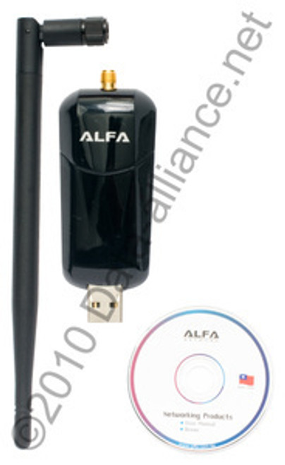 Alfa 1000mW WiFi USB Adapter Long-Distance Wireless-N w/Antenna & Jack