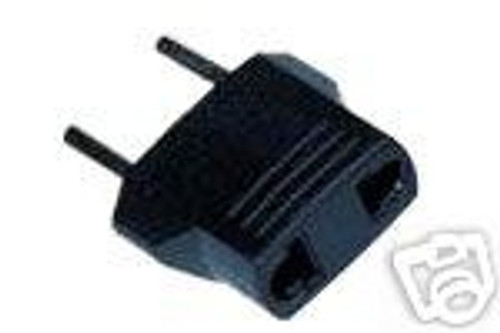 Electric plug adapter:  US to Europe: American flat plug into EU round socket