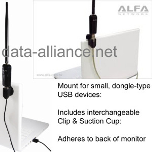 Mount for USB WiFi adapters: Clip & Suction Cup included: Mount to Laptop Monitor