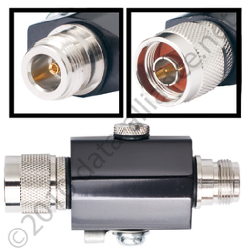 Lightning Surge Arrestor: 0 to 6GHz N-male to N-female connectors.