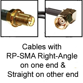 RP-SMA Cables: Right-Angle on one side