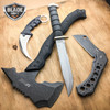 4 PC Tactical Hunting Survival Knife AXE Fixed Blade Karambit Cleaver Blade SET