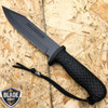 "12"" BLACK HUNTING SURVIVAL FIXED BLADE MACHETE TACTICAL Rambo Knife Sword SPEAR"