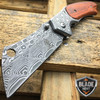 """8"""" TACTICAL Spring Assisted Open Pocket Knife CLEAVER RAZOR DAMASCUS ETCH Blade"""