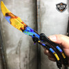 CSGO CASE HARDENED Practice Knife Balisong Butterfly Tactical Combat Trainer NEW