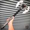 "25"" Medieval Fantasy Death Skull Skeleton Chaser Gothic Battle Axe w/ Plaque NIB"