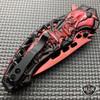 "8.25"" Fantasy Skull Spider Spring Assisted Open Folding Pocket Knife Karambit Red"