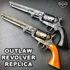 GOLD Outlaw Revolver Replica w Stand COLT NAVY CIVIL WAR CALVARY CONFEDERATE Gun