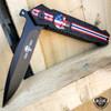 Skull Punisher Tactical USA FLAG Folding Open Spring Assisted Pocket Knife Blade