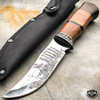 "9"" Hunting Survival Skinner Fishing Fixed Blade w/ Wood Handle + Nylon Sheath"
