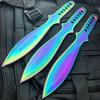 "3PC 9"" Rainbow COMBAT Ninja Tactical Naruto Kunai Throwing Fixed Blade Knife SET"