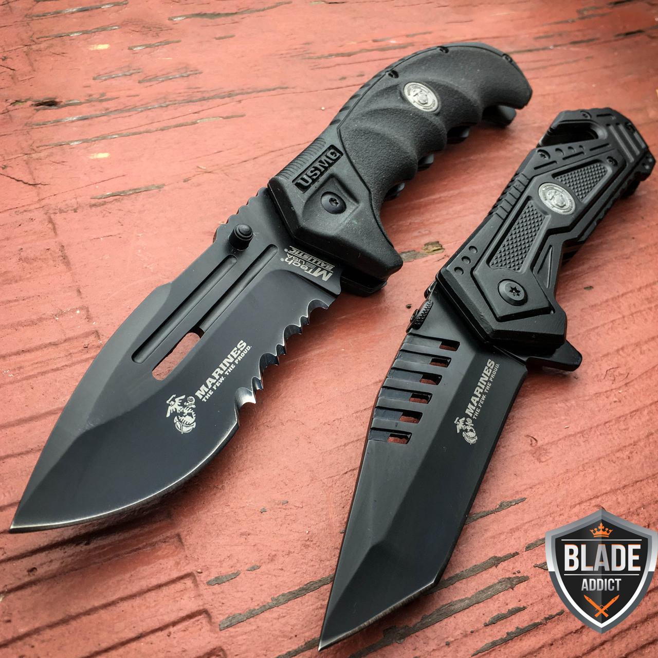 2PC USMC MARINES TACTICAL SPRING ASSISTED FOLDING KNIFE Blade Pocket Open