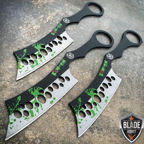 "3 Pc 8"" Zombie Killer Ninja Tactical Throwing Knife Set w/ Sheath Combat Kunai"