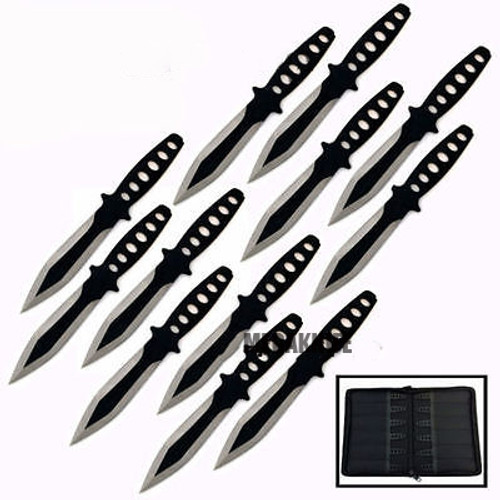 "12 Pc 6"" Ninja Tactical Combat Naruto Kunai Throwing Knife w/ Sheath Hunting Set"
