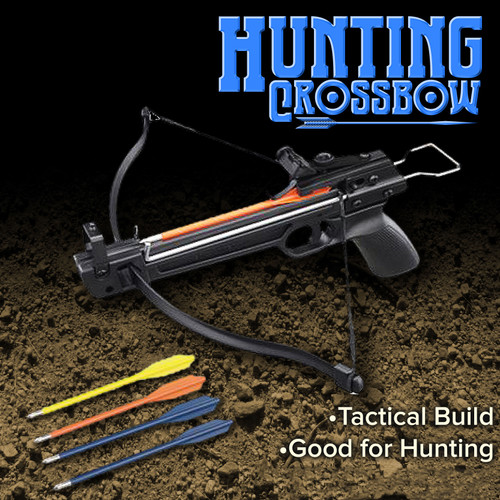 Powerful Tactical Crusader Hand Held Hunting Archery 50LB Pistol Crossbow Gun Cross Bow Arrows