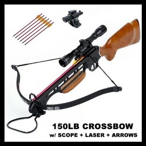 150 LB ARCHERY HUNTING 210 FPS BOW Gun CROSSBOW w ARROW BOLTS + SCOPE + LASER