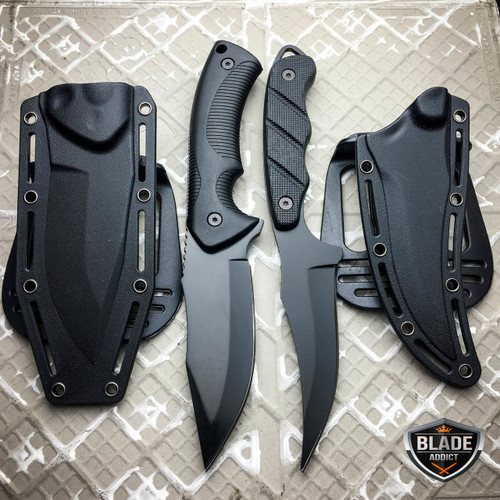 2 PC TACTICAL SURVIVAL Hunting MILITARY Fixed Blade Skinner Skinning Knife BLACK