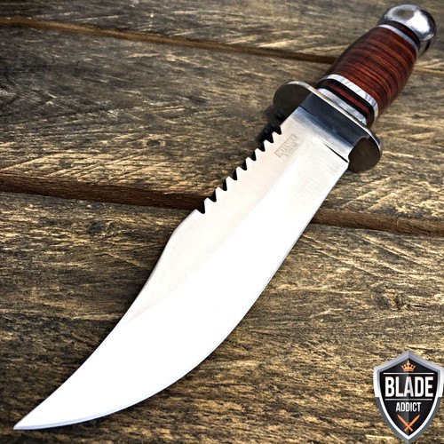"""10.5"""" Stainless Steel Survival Skinning Hunting Knife Wood Bowie Camping"""