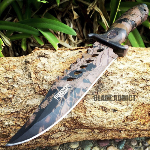 """10.5"""" CAMO TACTICAL HUNTING KNIFE Survival Military Fixed Blade Bowie Camping"""