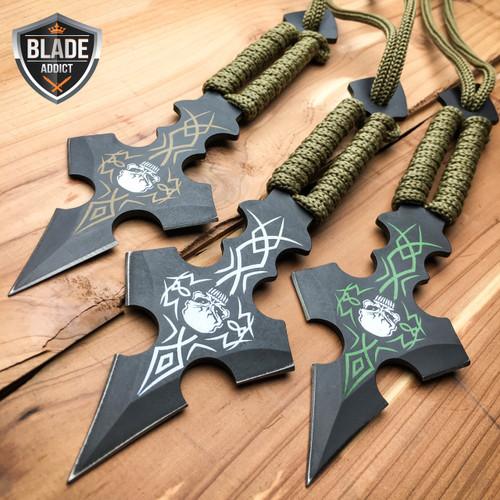 "3 Pc 6.5"" Ninja Tactical Skull Combat Naruto Kunai Throwing Knife Set Hunting"