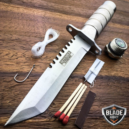 """8.25"""" Tactical Fishing Hunting Knife w/ Sheath Survival Kit Bowie Camping Tool"""