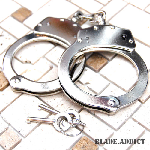 Professional Double Lock Nickel Plated Steel Police Handcuffs Security Defense