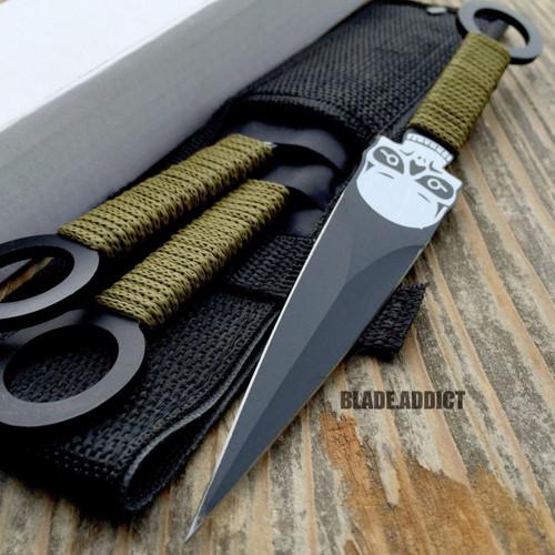 "3 Pc 8"" Skull Ninja Tactical Kunai Throwing Knife Set w Sheath Hunting Combat"