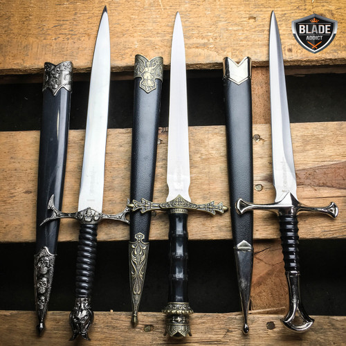 "3 PC 13.5"" Renaissance Medieval Ornate Fantasy Dagger Short Sword w/ Sheath SET"