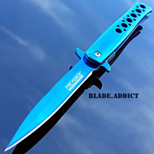 "9"" TAC FORCE BLUE TITANIUM STILETTO SPRING ASSISTED TACTICAL POCKET KNIFE EDC"