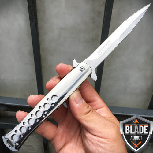 """9"""" TAC FORCE Chrome Italian Stiletto Tactical Spring Assisted Open Pocket Knife"""