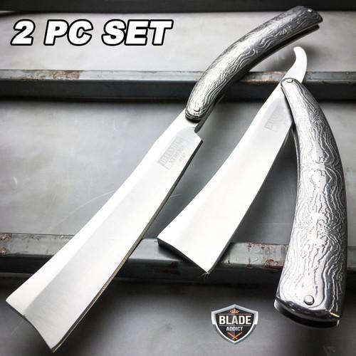 2PC Sweeney Todd Straight Blade Barber Razor Pocket Knife Shaving Cut Throat SET