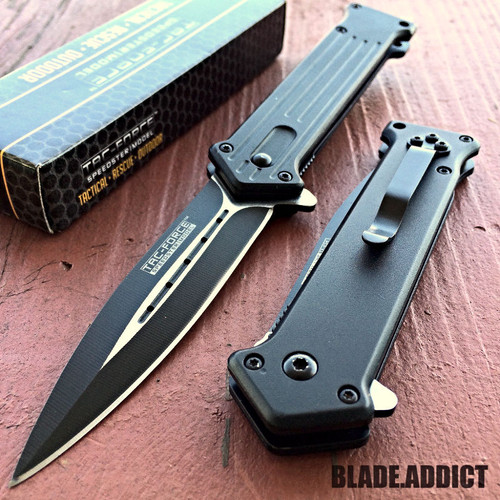 "8"" TAC FORCE SPRING ASSISTED FOLDING STILETTO TACTICAL KNIFE Blade Pocket Open 5"