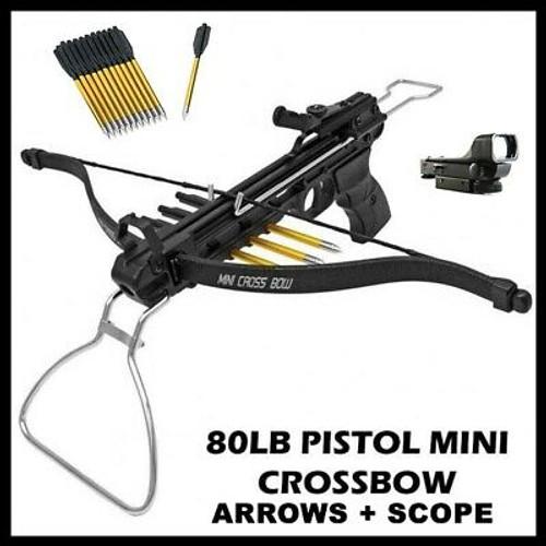 NEW 80 LB ARCHERY HUNTING Gun BLACK PISTOL CROSSBOW W/ ARROWS BOLTS w Scope