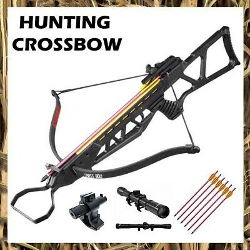 120 LB ARCHERY HUNTING Gun BLACK PISTOL CROSSBOW w ARROW BOLTS + SCOPE + LASER