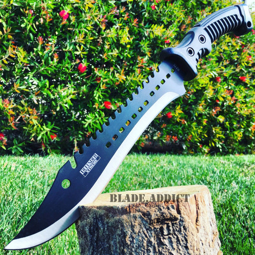 """16"""" TACTICAL HUNTING SURVIVAL RAMBO FIXED BLADE MACHETE KNIFE Camping Axe"""