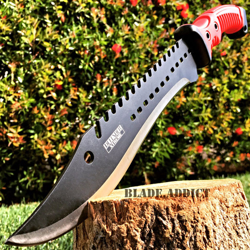 """15.5"""" TACTICAL HUNTING SURVIVAL BLADE MACHETE Rambo Knife Sword Camping RED"""