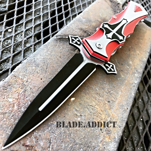 TAC-FORCE Spring Assisted Open CELTIC CROSS Folding Blade STILETTO Pocket Knife
