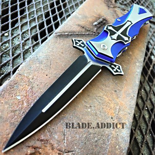 TAC-FORCE Spring Assisted Open CELTIC CROSS Folding Blade STILETTO Pocket Knife BL