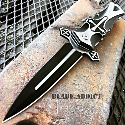TAC-FORCE Spring Assisted Open CELTIC CROSS Folding Blade STILETTO Pocket Knife BK