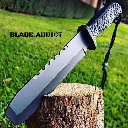 "12"" Hunting Military Survival Combat Fixed Blade Tactical Knife w/ Sheath Rambo BK"