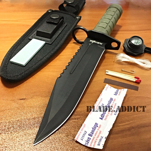 """12"""" Tactical Hunting Army Rambo Fixed Blade Knife Machete Bowie w Survival Kit GN"""