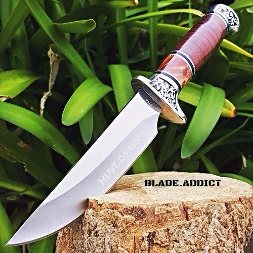 """10"""" Full Tang Fixed Blade Knife Hunting Skinning Survival Army Bowie Blade Wood"""
