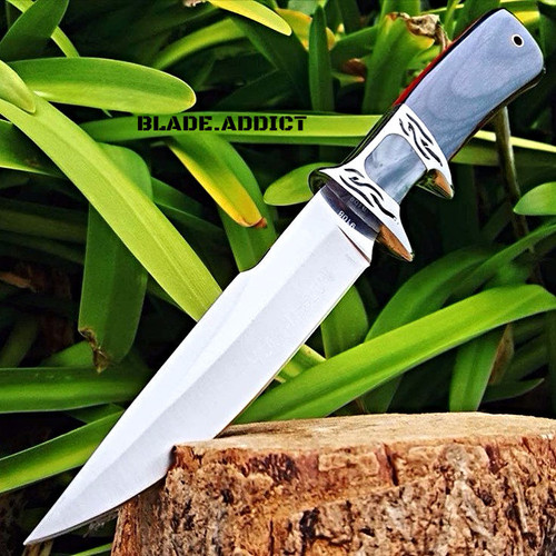 """10.25"""" Fixed Blade Full Tang Hunting Skinning Knife  Survival Army Bowie Blade"""