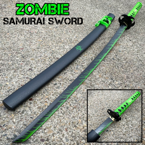 ZOMBIE HUNTER GREEN Katana NINJA SAMURAI Sword BIOHAZARD TSUBA Carbon Steel Dead