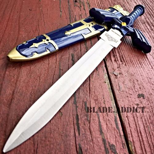 "11"" Legend of Zelda Hylian Hyrule Ocarina of Time Master Sword Short Dagger Blue"