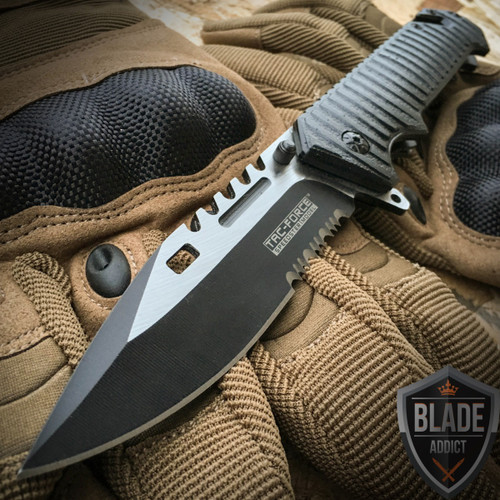 """9"""" TAC FORCE Spring Assisted Open SAWBACK BOWIE Tactical Rescue Pocket Knife"""
