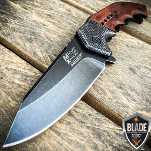 """9"""" MTECH HARDWOOD STEAMPUNK WOOD SPRING ASSISTED POCKET KNIFE"""